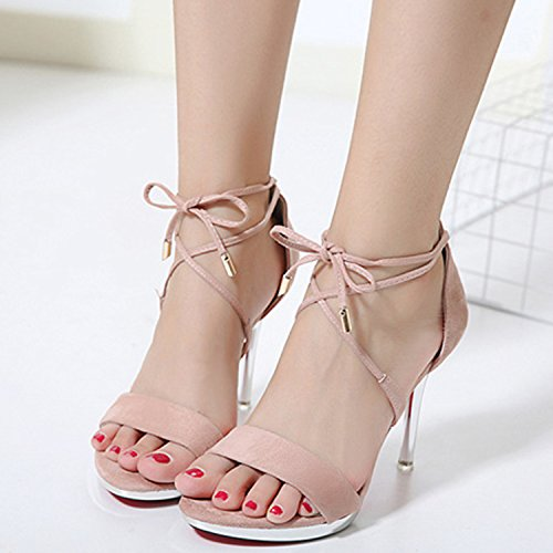 Oasap Women's Peep Toe Ankle Lace-up Stiletto Sandals pink