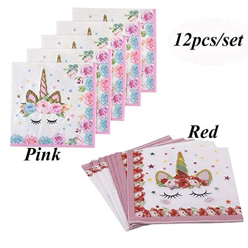 TOSSPER 12pcs / Set della Unicorn tovagliolo di Carta del Partito tovagliolo di Carta per la Cerimonia di Compleanno del Bambino della Decorazione della casa Supplies Unicorn Feste (Rosa)