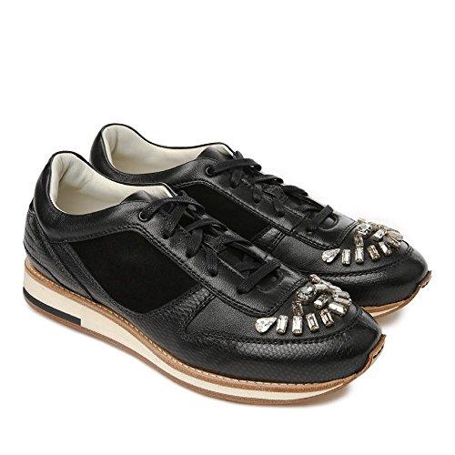 Basket Lanvin pour femme en cuir noir et pierres précieuses - Code modèle: FW SKBD2B KIPA A15 Noir