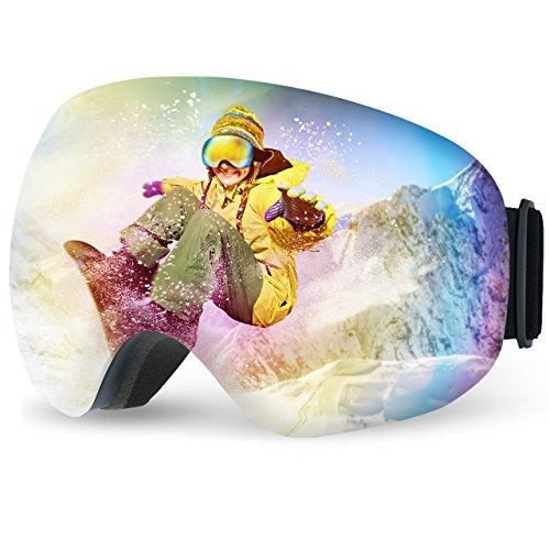 Mpow Anti-Fog UV400 Schutz Weitwinkel Skibrille, Snowboard Brille mit abnehmbaren Extra große Linse, VLT 16.6% für Damen Und Herren