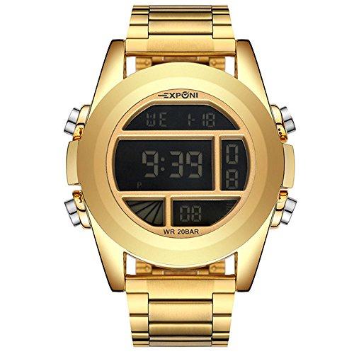 WENY Outdoor-Casual Uhr Herren Digital Sport Armbanduhr LED-Bildschirm große Gesicht Elektronik Militäruhren wasserdicht Alarm Stoppuhr zurück Licht (Farbe : Gold) -