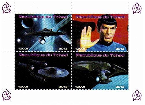 Star Trek Briefmarken - Erstbezug Briefmarken aus der Star Trek Originalserie mit Spock und dem Unternehmen - Mint und postKleinBogen mit 4 Marken