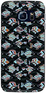 The Racoon Lean printed designer hard back mobile phone case cover for Samsung Galaxy S6 Edge. (Black Orna)