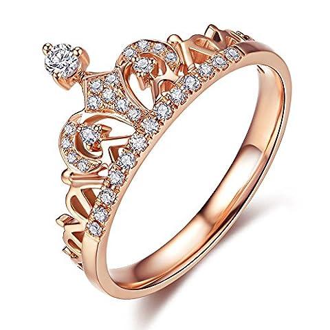 modeu Bijoux exquis en forme de couronne de princesse avec bague Micro oxyde de zirconium transparent