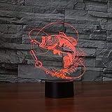 3D Fisch Illusions LED Lampen Tolle 7 Farbwechsel Acryl berühren Tabelle Schreibtisch-Nacht licht mit USB-Kabel für Kinder Schlafzimmer Geburtstagsgeschenke Geschenk.