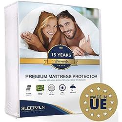 SLEEPZEN Protège Matelas Imperméable 160x200 cm - Molleton 100% Coton, Alèse de lit imperméable - Anti-Acarien, Antibactérien, Anti-Moisissures, hypoallergénique - Made in UE - Garantie 15 Ans