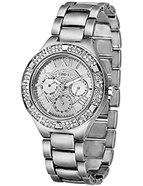 Time100 moderne Strass damen Chronographuhr Armbanduhr damenuhr silber #W50318G.01A