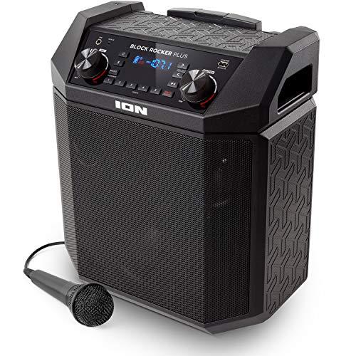 ION Audio Block Rocker Plus - Tragbarer Bluetooth Lautsprecher mit Radio / Akku Lautsprecher mit Mikrofon, Aux-Eingang und USB Aufladung für Smartphones und Tablets, 100 Watt
