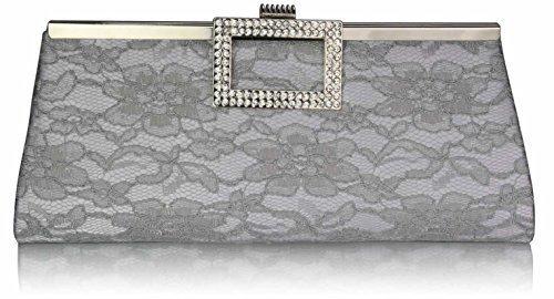 TrendStar Damen Eleganten Abend Party Geldbeutel Floraler Spitze Satin Kristall Handtaschen Silber