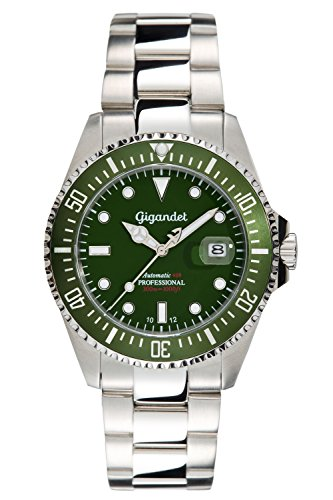 Gigandet Sea Ground Automatic Men's Analogue Diver Watch Green Silver G2-008