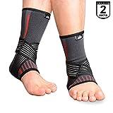 SupreGear, confezione da 2 tutori per caviglia, in nylon elastico, con doppia cinghia di compressione per piede e caviglia, per alleviare il dolore alla caviglia, con velcro, per corsa, salto e basket