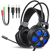 Gaming Headset, EasySMX COOL 2000 Auriculares Estéreo Gaming con Micrófono y Control de Volumen con Cable 2 en 1 para PC, MAC, NUEVA Xbox One, PS4, Smartphone, Nintendo Switch, Iluminación LED (Negro+Azul)