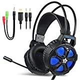 EasySMX Casque PC, Cool 2000 Casque Gaming Stéréo Microphone Contrôle du Volume, Y câble répartiteur PC/Mac / New Xbox One Slim / PS4 / Smartphone/Nintendo Switch (Noir+Bleu)