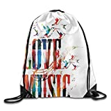 FAFANIQ AOOPK Unisex Gym Bag I Love Music Drawstring Gym Sack Sport Bag for Men and Women