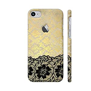 Colorpur iPhone 7 Logo Cut Cover - Vintage Shabby Chic Black Lace On Gold Metal Printed Back Case