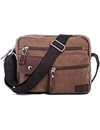 Hengwin Multi Pockets Medium Canvas Shoulder Cross Body Bag Messenger Handbag for Men and Women Holiday Work Flight Trip Sports, fits for iPad, iPad Mini
