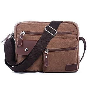 271db775f4 Borsa a Tracolla di Tela Vintage Messenger Bag Borse a Spalla da Uomo Donna  Viaggio Sacchetto del Messaggero per Università l'ufficio Scuola Sport  Outdoor ...