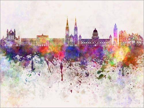 Posterlounge Holzbild 130 x 100 cm: Belfast Skyline von Editors Choice