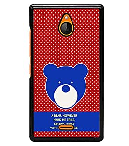 Fuson Premium Teddy Bear Metal Printed with Hard Plastic Back Case Cover for Nokia XL