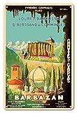 Pacifica Island Art 8x12 estaño Muestra de la Vendimia-Barbazan-Central Pyrenees Francia-Catedral de Sainte-Marie-Grottes de Gargas (Cuevas de Gargas) por P. Seignouret