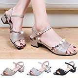 Lailailaily?Mid-Heeled Thick?with Rhinestone?Metal?Buckle?Low-Top?Women's?Open-Toe?Sandals
