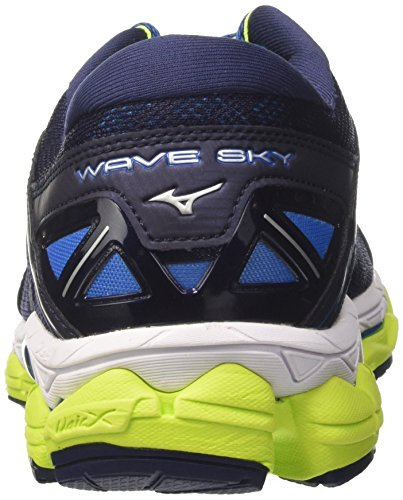 Mizuno Wave Sky, Chaussures de Running Homme Multicolore (Peacoat/silver/safetyyellow)