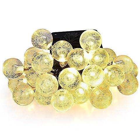 S&L Solar Globe Fairy Lights 30 Led Crystal Ball Patio String Light for Outdoor Garden (Warm White)