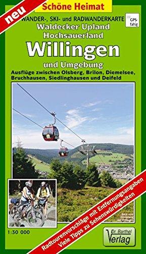 Wander-, Ski- und Radwanderkarte Waldecker Upland, Hochsauerland, Willingen und Umgebung: Ausflüge zwischen Olsberg, Brilon, Diemelsee, Bruchhausen, ... und Deifeld. Maßstab 1:30000 (Schöne Heimat)