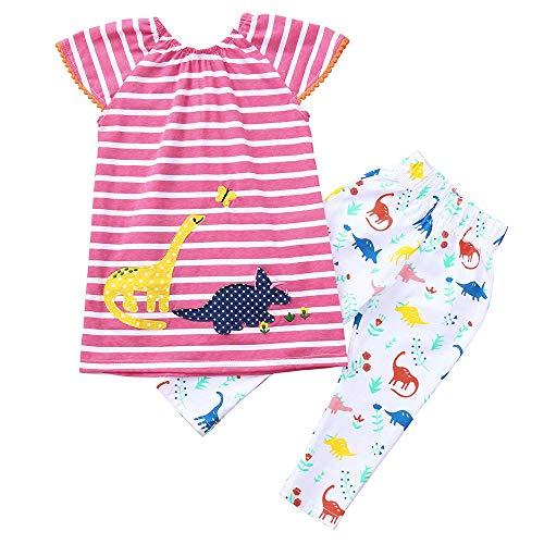 JERFER Karikatur Gestreift Kleid Kleinkind Baby Mädchen Tierdruck Kleid + Hosen Outfits Kleidung (Wars Star Kleidung Für Kleinkinder)