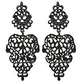 2LIVEfor Traumhafte Ohrringe Ethno Gross verziert Ohrringe Bohemian Vintage Ohrringe lang Hängend Antik Style Ornamente Barock Tropfen (silber) (Schwarz)