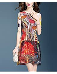 Mulberry silk Printing una palabra falda mujer manga corta de encaje vestido de seda fina,XL