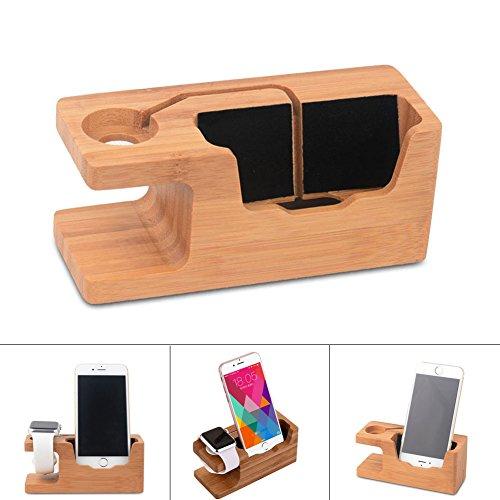 Rokoo 2 in 1 Bambus Holz Ladestation Docking Station Halterung für iPhone & iwatch Serie 1 2 38mm / 42mm