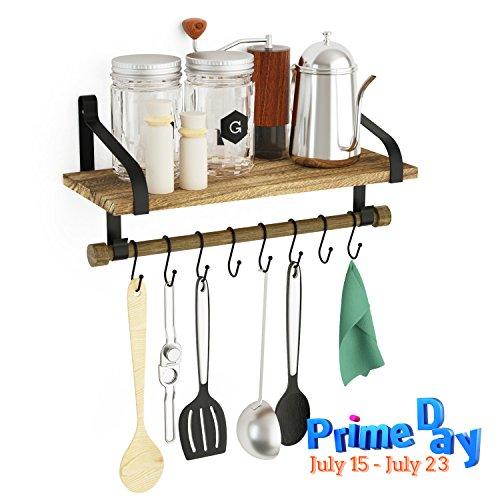 SRIWATANA Küchenregal Küchenablage und Pfannenhalter, Herdablage - Rustikale Küche Organizer mit Holzbrett und 8 abnehmbaren Haken zum Organisieren von Kochutensilien, Multi-Einsatz als Gewürzregal oder Badregal