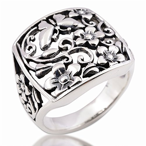 Night Bazaar: Nice Ring Blume Sterling Silber Größe 6.