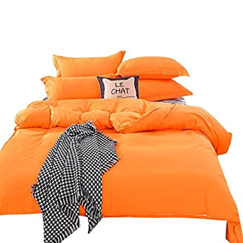 hunpta 1500 Series Feuille Lot de 2 Plusieurs couleurs massif simple Full Queen lit double king size, Orange, 1,2 m