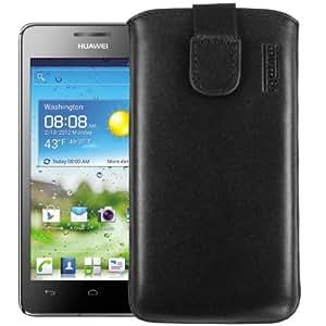 mumbi ECHT Ledertasche Huawei Ascend G615 G600 Tasche Leder Etui - Lasche mit Rückzugfunktion Ausziehhilfe