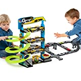 #0618 Stabile Parkgarage mit 3 Ebenen inklusive Aufzug und 5 Metallautos • Parkhaus Spielstrasse Spielautos Spielzeug Autorennbahn Auto