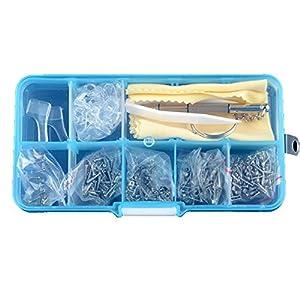 Racksoy Brillenreparatur Brille Reparatur Werkzeugsatz Schrauben & Nasenauflagen mit Montagepinzette & Mikro Schraubendreher