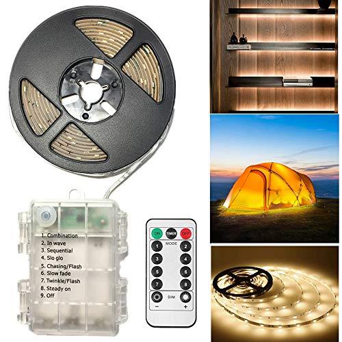 LED Streifen 3 Meter LED Stripes,Batteriebetrieben,90 LED Streifenlichter Lichterkette Lichtleiste für Zuhause Schlafzimmer Dekor- Schneidbar,Selbstklebend,Fernbedienung,Timer,8-Modus,dimmbar-Warmweiß