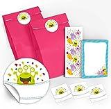 12 Geschenktüten / Rosa + 12 Aufkleber + 12 Lesezeichen + 12 Mini-Notizblöcke