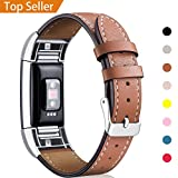 For Fitbit Charge 2 Band Leather Strap, Mornex Classic Adjustable Replacement Wristband for Fitbit...