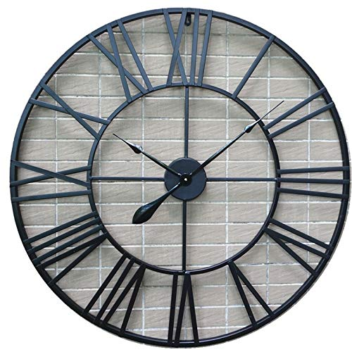 Relojes de pared Interior 80cm Reloj de pared con números romanos de metal retro europeo - negro