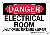 My Sign Center Danger Electrical Room Unauthorized Personnel Keep Out Sign - 10x7 - . 060 Heavy Duty Plastic - Made in USA - UV Protected and Weatherproof - A81-282PL