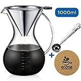 Ecooe 1000ml / 33.3 oz Pour-Over Kaffeezubereiter / Kaffeebereiter Set zum Teilen mit Edelstahlfilter, Messlöffel, Korkmatte und einer Reinigungsbürste