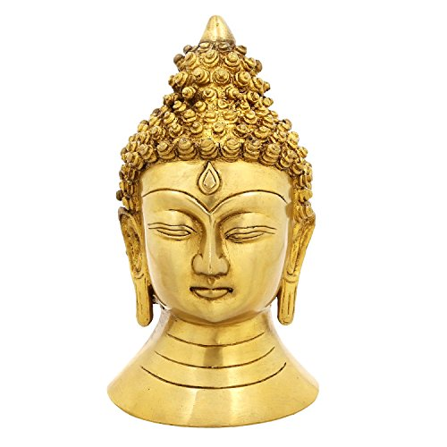 Religious Gifts Buddha Face Buddhism Statue Brass For Home 8 Inch,2.16 Kg