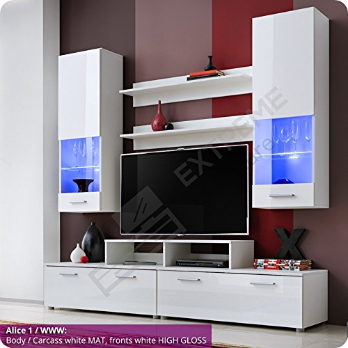 Exquisite Living Room Furniture Suite   Fronts In High Gloss   Display Wall  Hanged Unit   TV Floor Cabinet   TV Stand  2 Shelves   LED Lighted Glass  Shelves ...