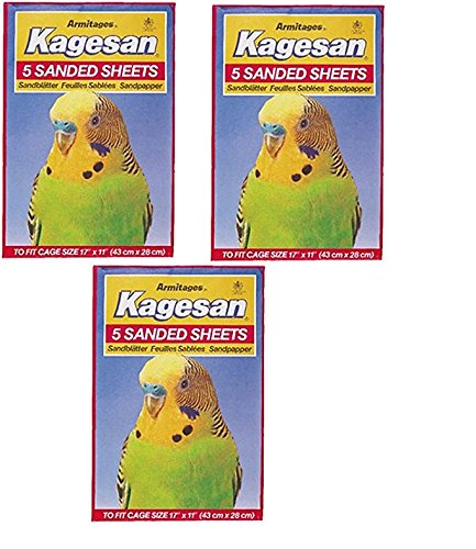 Kagesan RED BIRD CAGE SAND PAPER SHEETS 3X5 PACK = 15 SHEETS 17″X11″ 43X28