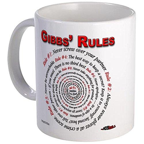 "CafePress-Ncis Gibbs ""Regole per-Esclusivo, da Caffè Tazza di Caffè, Tè Tazza, White, Mega"
