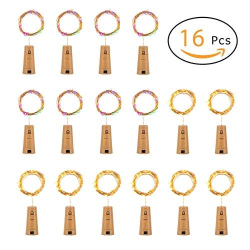 PAMASE 16 Stücke Flaschen Licht 8 warmes Weiß + 8 Farbig, golder Kupferdraht 20 LEDs 2m Länge batteriebetriebene Lichterkette für Weinflasche, Flasche DIY, Party, Weihnachten, Halloween und Hochzeit Deko (3-licht 16)