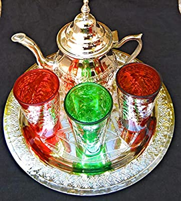jeu de TE marocain de 3Verres à cristas théière plateau de 25cm de diamètre